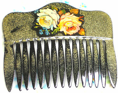 Vintage Comb Hair Slide Western Germany Floral Lacquer Rose Roses Celluloid NOS