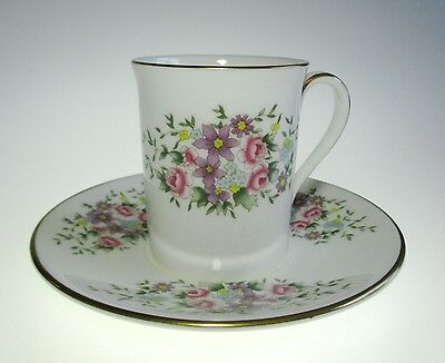 Royal Doulton China Demitasse Cup Saucer Scattered Floral Danbury Mint England