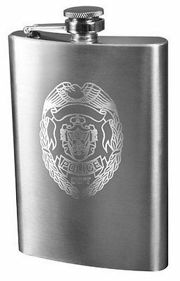 8oz Police Law Enforcement Shield Engraved Stainless Steel Flask