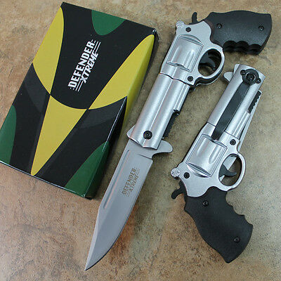 "8.5"" Spring Assisted Open Gun Style Pocket Knife High Detailed Handle 6734 zix"