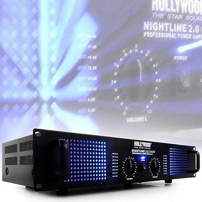 Verstärker Amplifier 2400 W Musik Equipment schwarz PA-Endstufe Party LED-Licht