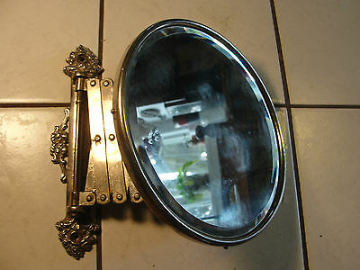 Vintage shaving mirror with extending arm, collapsible, old, vanity, beveled