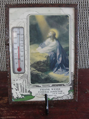 Thermometer, old,framed religious, Frank Weiss Funeral