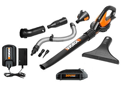 WG545.1 WORX 20V MaxLithium Cordless Blower/Sweeper with 8  Attachments
