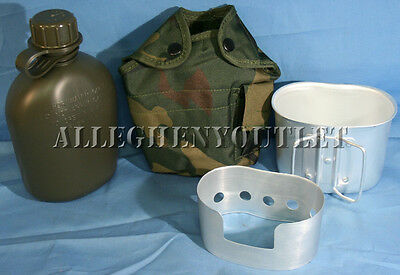 4 Pc Military 1 QUART CANTEEN SET KIT w/ 1QT Woodland Camo COVER, CUP, STAND NEW