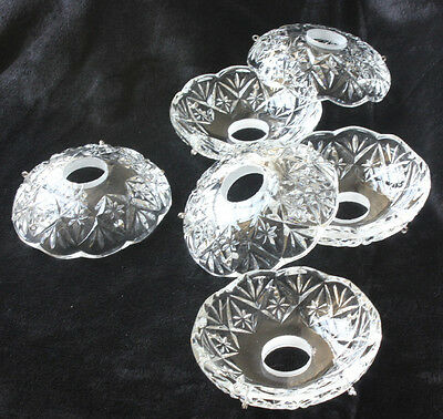 Lot Of 6 Glass Candle Vintage Crystals Bowl Chandelier Bobeches Lamp Part 3.9''