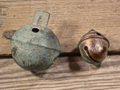 vintage #7 BRASS SLEIGH BELL Old 1800's farm primitive holiday decoration jingle