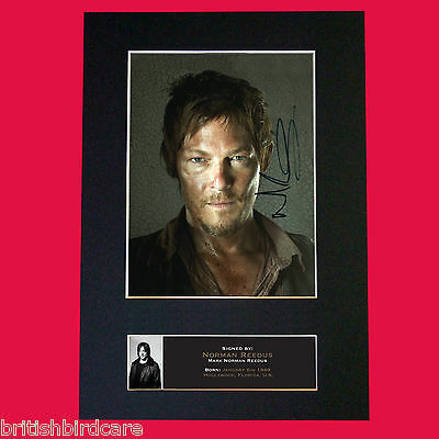 NORMAN REEDUS The Walking Dead Signed Autograph Mounted Photo Repro A4 Print 560