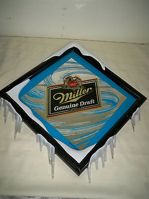 Miller Genuine Draft Mirror Sign with Icicles and Snow
