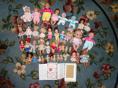 Lot of 43 Little Tiny Baby Dolls w Clothes Different Makers ADG Mattel +