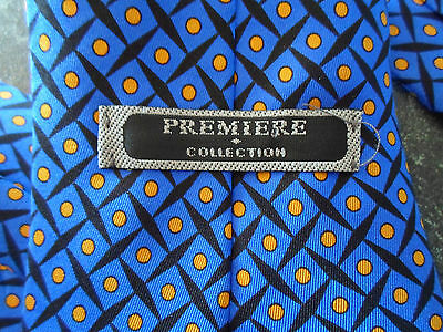Nice 100% Silk Tie Bright Blue + Yellow Spots Retro Pattern Premiere Collection
