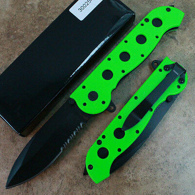 "8"" ZOMBIE Tactical Assisted Open Pocket Knife Neon Green Handle 300254-ZB zix"