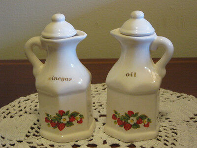 "Strawberries n Cream Vinegar & Oil Cruet Set 5""H"