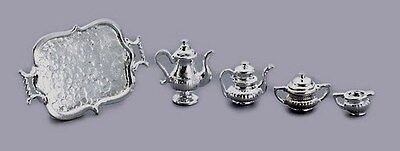 MINIATURE DOLLHOUSE 1:12 SCALE SILVER TEA SET WITH TRAY D0158
