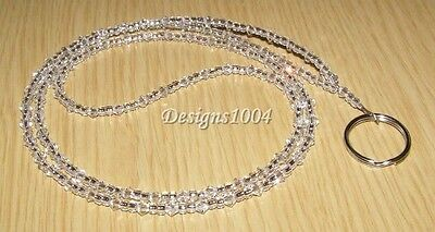 Sparkling Swarovski Crystal Clear ID Lanyard Badge Holder Gift Nurse Teacher