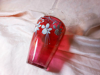 VINTAGE RED RUBY FLASH VASE WITH WHITE EMBOSSES AN SCOLLOPED EDGES PEDESTAL