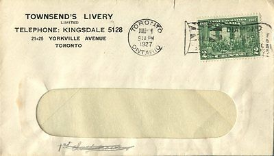 1927 Toronto Townsend livery advertising cover with Jubilee slogan cancel