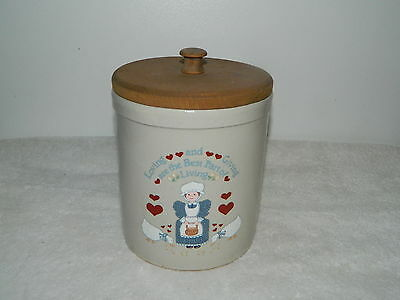 "RRP.Co Robinson Ransbottom Crock Jar With Wooden Lid ""Loving And Giving"""
