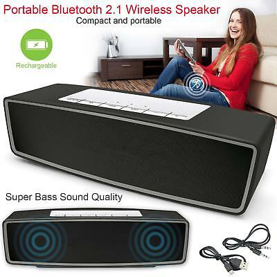 New Wireless Bluetooth Speaker Rechargeable Powerful Stereo Support TF + AUX USB