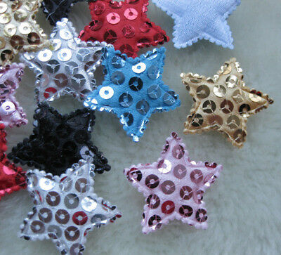 60pcs Padded Sequin Star Appliques/Baby Lots Mix-6 A661