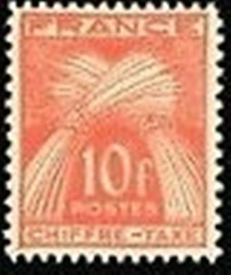 "FRANCE STAMP TIMBRE TAXE N° 76 ""TYPE GERBES 10F ROUGE-ORANGE"" NEUF x TB"
