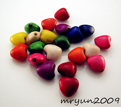 FREE 50pcs Jewelry Design Mixed Turquoise Heart Loose Beads Strand Gemstone 8MM
