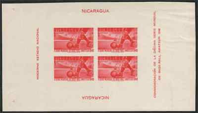 Nicaragua 1949 Soccer World Series 1cor IMPERF & souvenir sheet of four