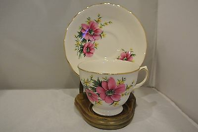 Royal Osborne Cup & Saucer ~ Pink Flowers Made in England