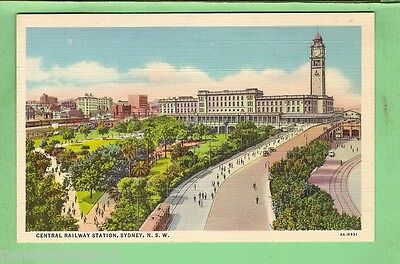 Postcard - Sydney Central Railway Station With Tram