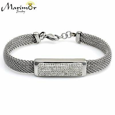 STAINLESS STEEL 316L HIGH POLISHED 8mm WIDE MESH CRYSTAL BRACELET