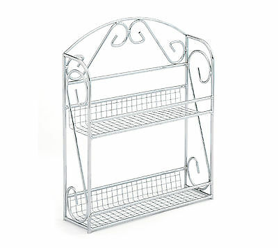 New Chrome 2 Tier Free Standing / Wall Mounted Spice / Herbs Rack Jar Holder