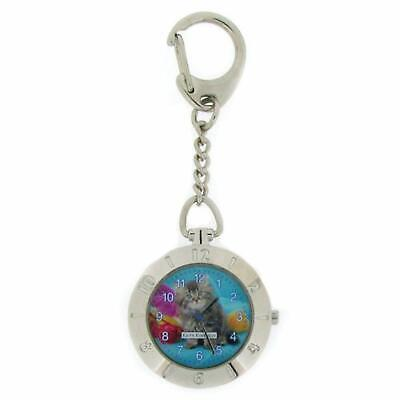 Keith Kimberlin Kitten Design Blue Dial Ladies Keyring Watch KK2