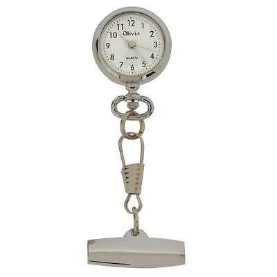 The Olivia Collection Hook Chain White Dial Nurses Fob Watch TOC08