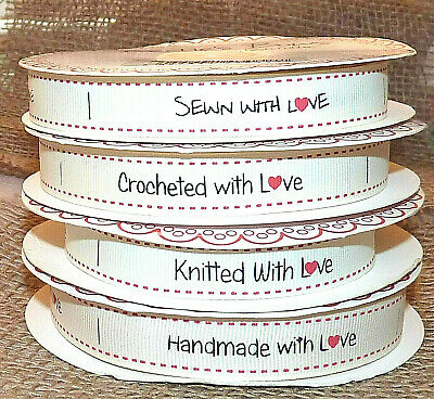 10/20 Bertie's Bows Ivory Ribbon Labels Crochet/knitted/sewn/handmade With Love