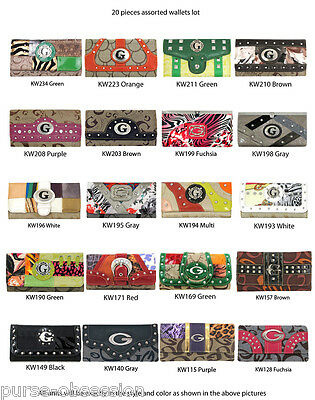 Wholesale 20 Assorted Designer Inspired Fashion Wallets Clutch Tri-Fold - Set F