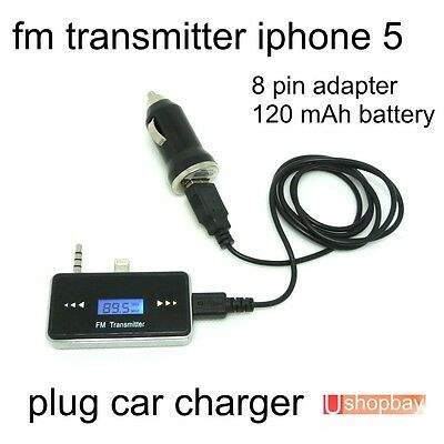 FM Transmitter Car Charger Audio Handsfree for iPhone 5 5S 5G with 3.5mm Jack
