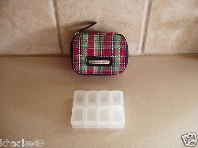 LONGABERGER HOLIDAY PLAID VITAMIN PILL BOX CASE WITH ID CARD HOLDER * NIP