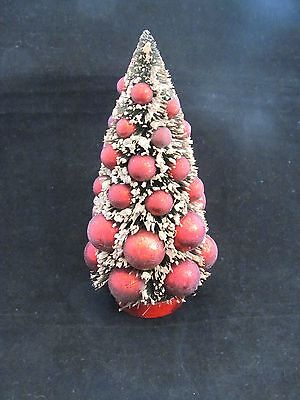 "Snowy Green Bottle Brush Tree w Vintage Style red Bulbs 7"" Christmas primitive"