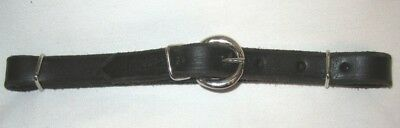 Western Horse Bridle Curb Strap - Black - All leather - New