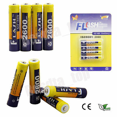 4X AAA 2600mAh 1.2V Ni-MH R3 Piles Accus Batterie Rechargeable For FLASH ™