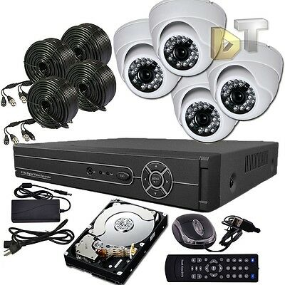 DNT 4CH Channel Video Surveillance System CCTV DVR 4 White Dome Security Camera