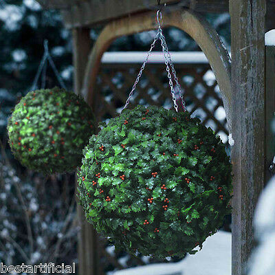 2 Best Artificial 40cm Christmas Holly Balls Topiary Grass Flower Xmas Hanging