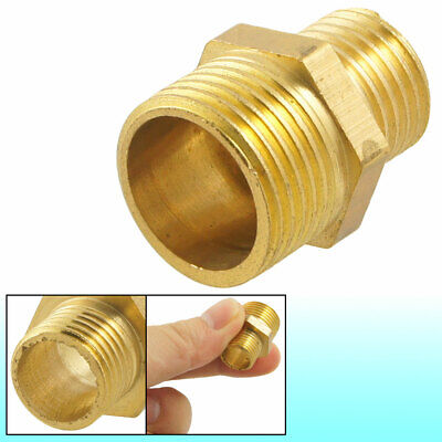 """Brass 3/8"""" PT to 1/4"""" PT Male Hex Nipple Reducing Connector Fitting"""