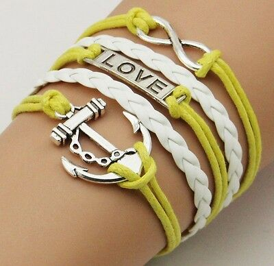 NEW Hot Infinity Love Anchor Leather Cute Charm Bracelet plated Silver DIY SL92