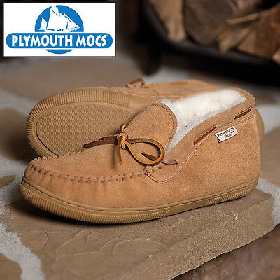 Plymouth Mocs Chukka Slippers Suede & Merino Wool - Tan - Men's 9