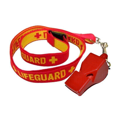 Red Lifeguard Whistle + Red / Yellow Woven Life Guard Lanyard Classic New