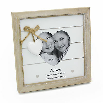 Vintage Shabby Chic Sister Photo Frame Gift With Heart 46214