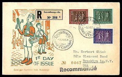 Luxembourg to US 1953 REgistereD cacheted FDC Michel 519-21 & 522