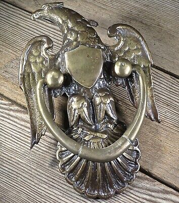 Eagle & shield shell door knocker old antique vintage solid brass large size