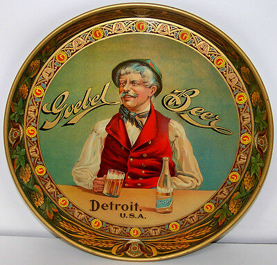 """1900s HIGH QUALITY """"GOEBEL BEER"""" LITHO COLOR TRAY - BEER MEISTER"""